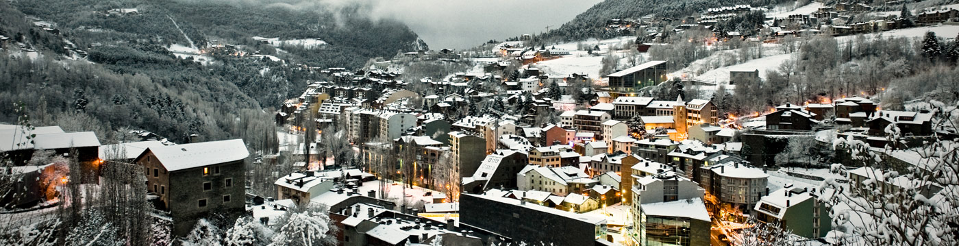 View of La Massana covered in snow