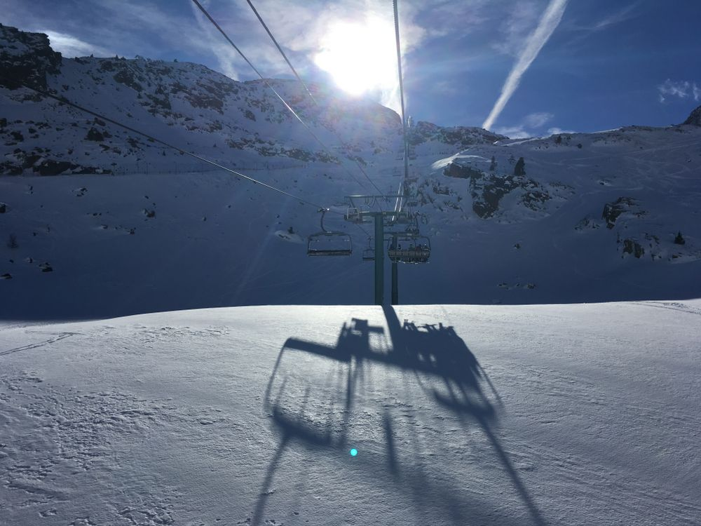 Heading up the chairlift La Basera