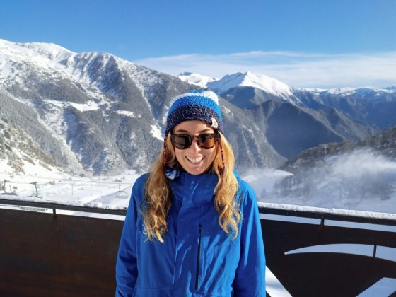 Esther at the terrace of Obelix restaurant on the slopes of Arinsal