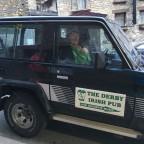 Garlick from the Derby Irish Pub driving around Arinsal