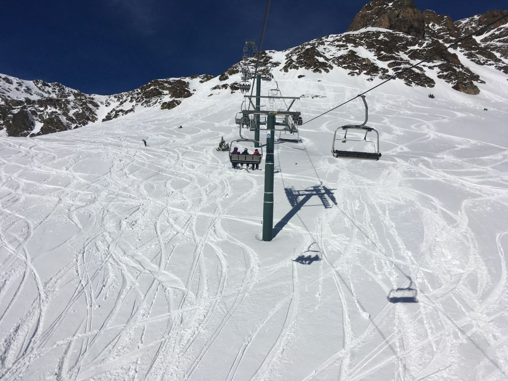 Heading up the chairlift of Creussans