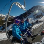 The girls of Andorra Resorts heading up on La basera chairlift