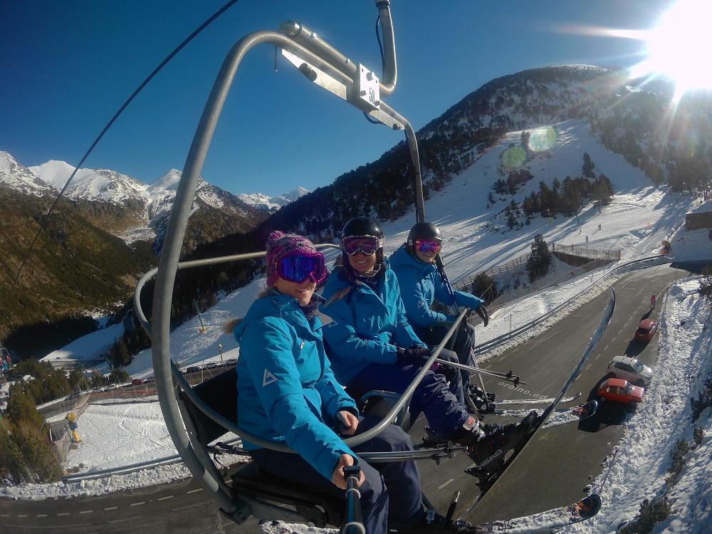 The girls of Andorra Resorts heading up on La basera chairlift