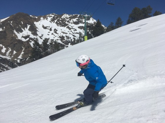 Skiing down L'Hortell red slope
