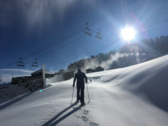Steve heading up the slopes of Arinsal by snowshoes