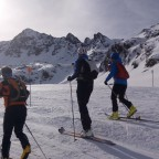 Mountain skiers heading up for the Font Blanca 2017 ISMF World Cup