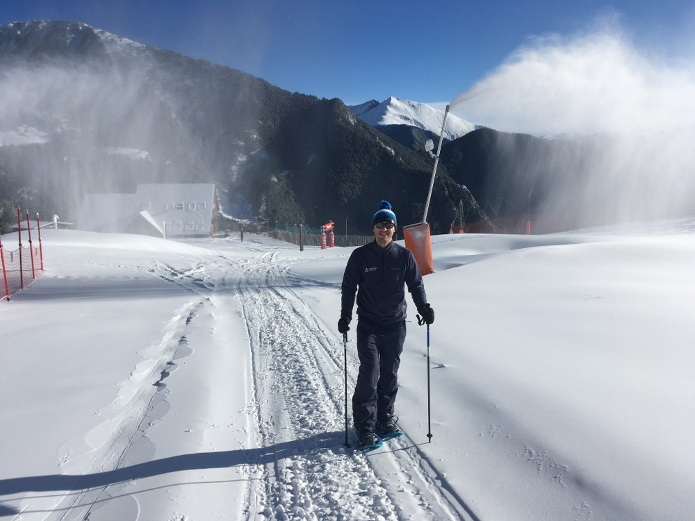 Steve snowshoeing up the slopes of Arinsal