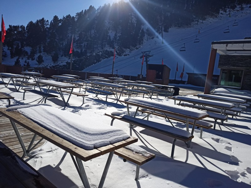 The restaurant Terrace was covered by snow