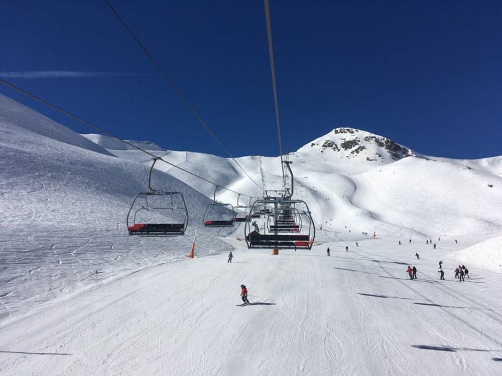 On the Port Negre chairlift