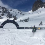 Maria Kuzma snowboarding on the FWT2019