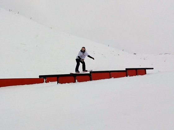 Rider railing in the freestyle park