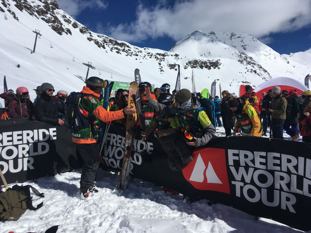 Riders congratulating Drew Tabke