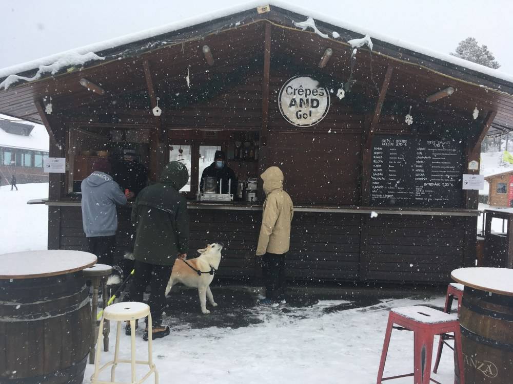 Creps & Go was open so we had a beer under the snow