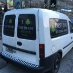 The van of the Derby Irish Bar