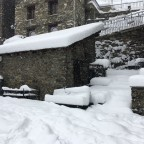 Deep snow in the centre of the village
