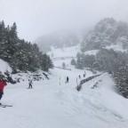 Skiing down Les Marrades run
