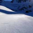 The shadow starting to cover the Megaverde piste