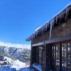 Icicles forming on the restaurants