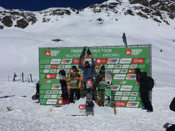 Snowboard Men podium for the Vallnord FWT 2018