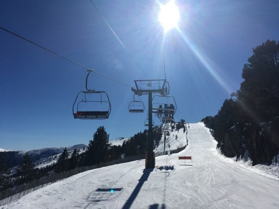 On the Coll de la Botella chair lift