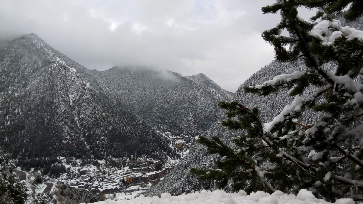 A white view from Arinsal village after the snowfall