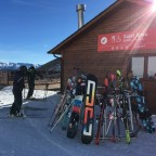 The sun shines and the skiers head to the terraces on the mountain