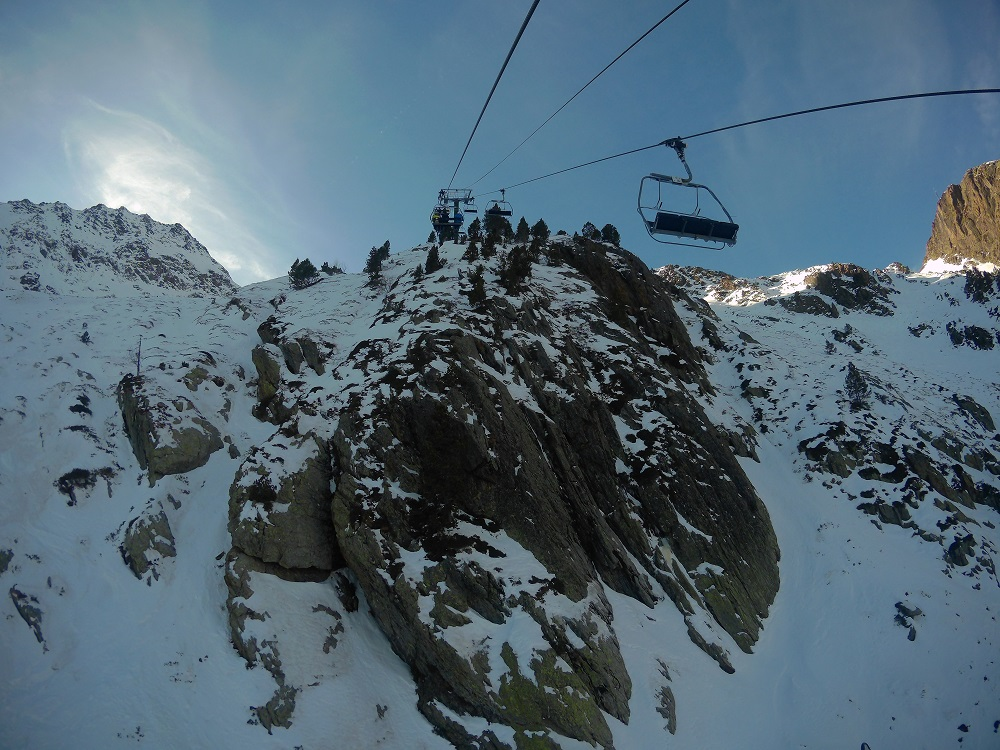 Heading up on the chairlift La Basera