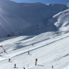 View of the snowpark and the Les Fonts run from the chairlift
