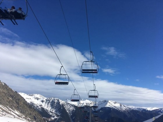 Blue skies and the Port Negre chairlift