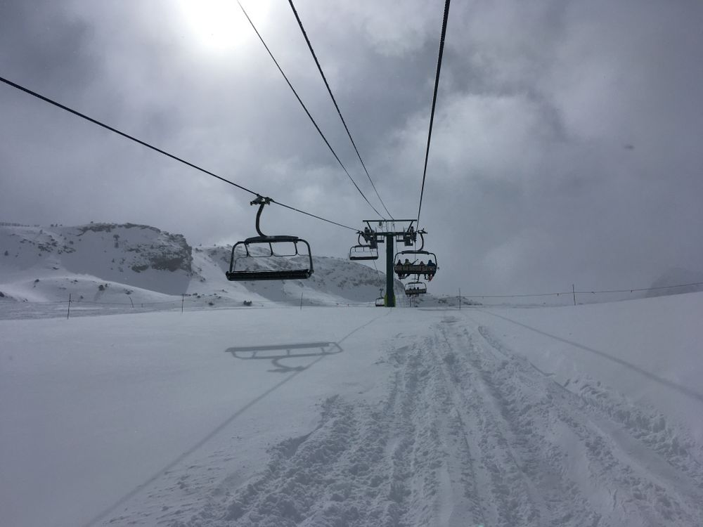 Heading up the chairlift La Coma