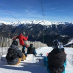 Instructor giving a snowboard lesson in Pal