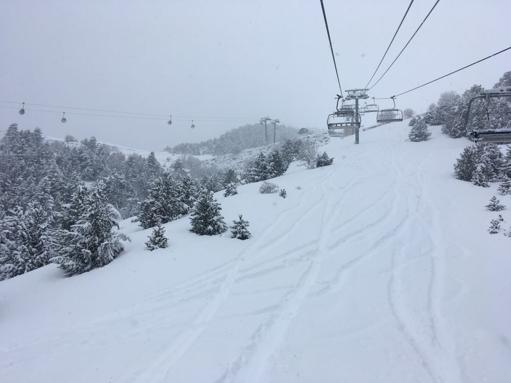 Tracks under the chairlift