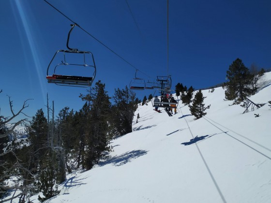 Heading up Coll de la Botella chairlift
