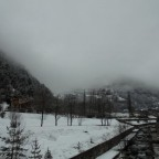 Low cloud and snow.  Very moody weather today