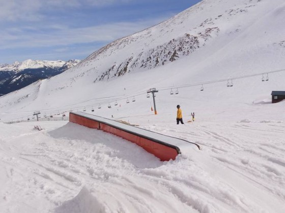 Getting ready to rail in the snowpark