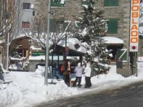 Snowy Bus Stop at the Gondola