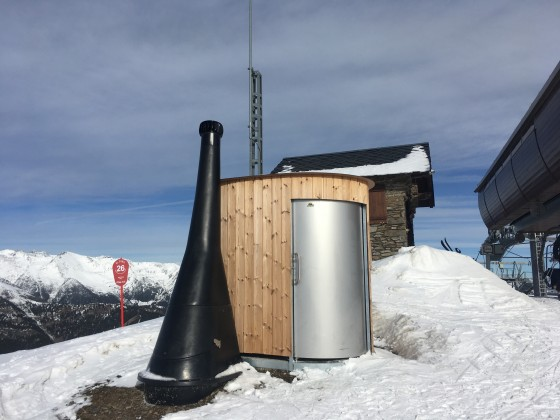 This is the new toilet located at the top of Cubil chairlift