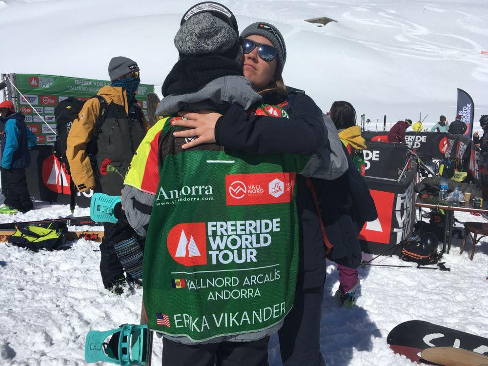Erika Vikander hugging her friend
