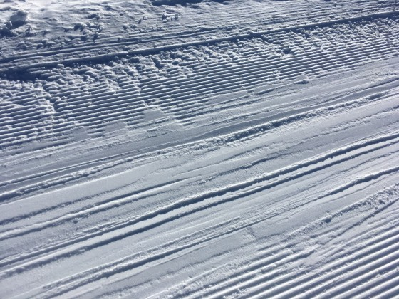 The texture of the snow has maintain through the day due to the low temperatures