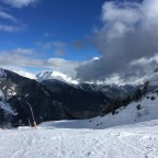 View of the snowy mountains from Les Fonts piste