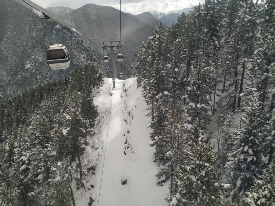 White views from the gondola of Arinsal