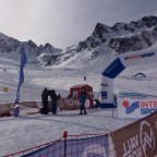 Skier crossing the finish line of the Font Blanca ISMF World Cup