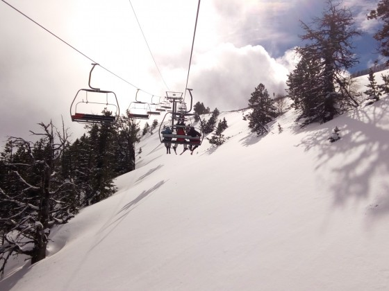 Tempting fresh snow under La Botella chairlift