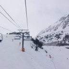 A white view of the slopes from Les Fonts chairlift
