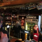 Penelope behind the bar of The Derby Irish Bar