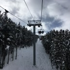 Heading up the chairlift Cubil