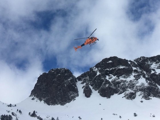 Helicopter following the riders on the FWT2019