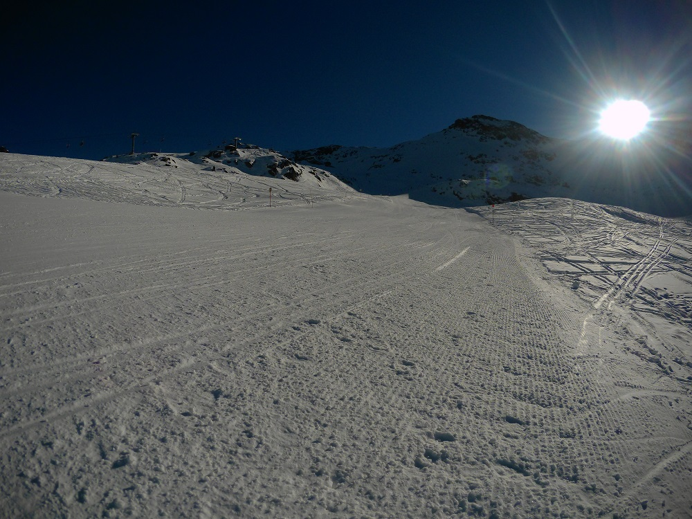 El Mur red slope has been perfectly groomed