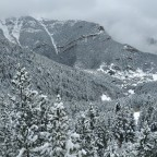 The mountains were covered in white