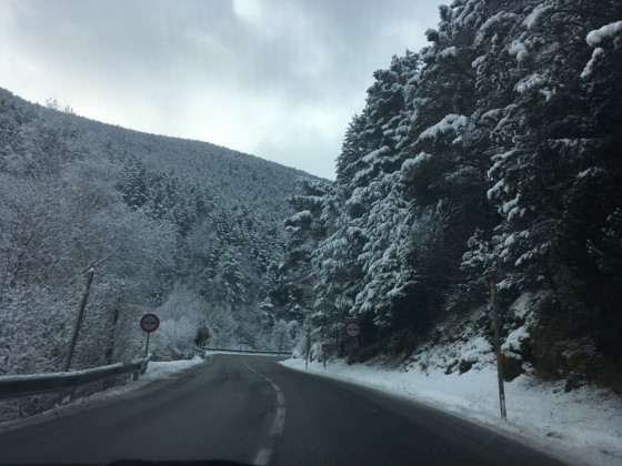 White roads all around Andorra today